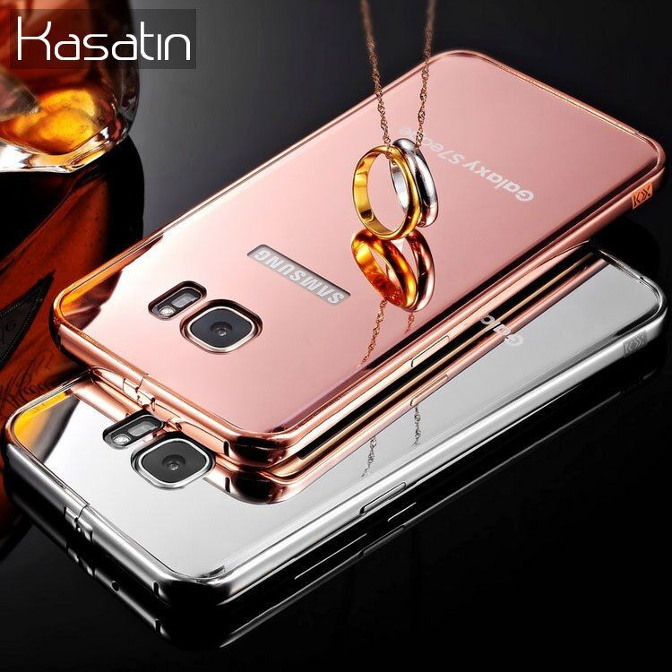 Luxury for Samsung Galaxy S6 S7 Edge Mirror Mobile Phone Bumper Case for Samsung S8 Plus Glitter Alumin Metal Cover Coque Note 5