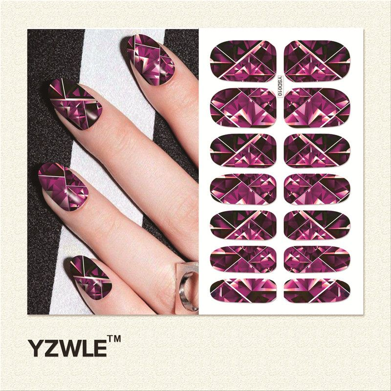 WUF  1 Sheet Water Transfer Nails Art Sticker Manicure Decor Tool Cover Nail Wrap Decal (YSD010)