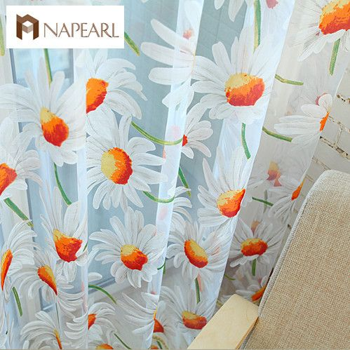 Window screening balcony finished product burnout design flower tulle curtain for living room sunflower kitchen curtains