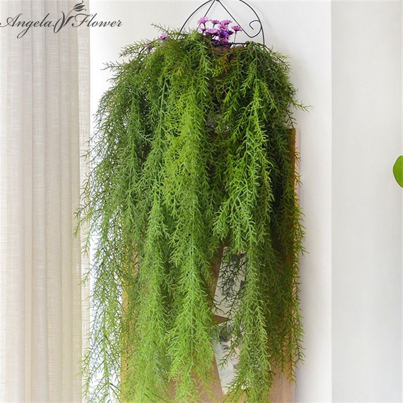 Real Touch Artificial Wall Hanging Plants Artificial Pine Needles Home Decoration Balcony Decorattion Flower Basket Accessories