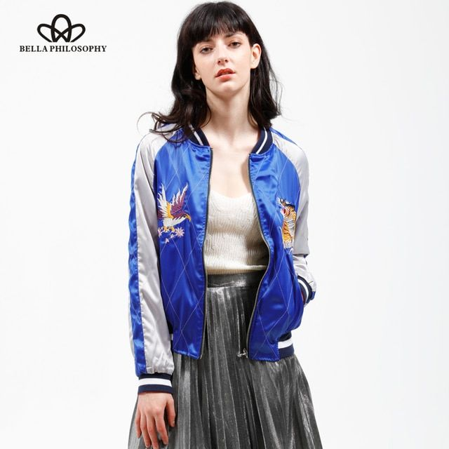 Bella Philosophy 2018 spring autumn two sides wear reversible stain sateen embroidery souvenir bomber jacket padded real photo