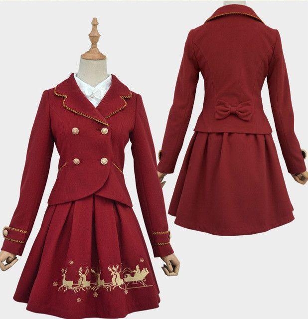 New Sweet Women's Christmas Outwear Deep Red/White Jacket and Reindeer Embroidered A line Skirt Two Piece Set