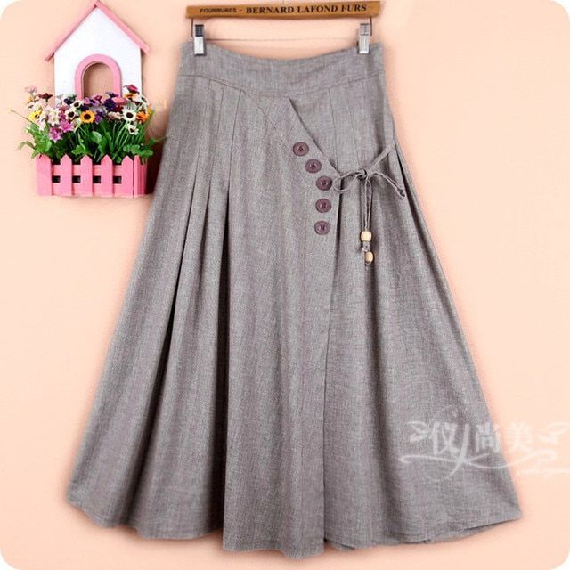 Free Shipping 2017 New Fashion Long Maxi Half-length Bust Skirt Linen And Cotton Women Skirt Plus Size Elastic Waist Autumn