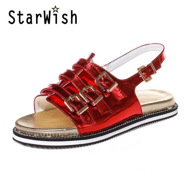 2017 Summer Gladiator Sandals Flip Flops Fisherman Shoes Woman Platform Creepers Flats Women Red Silver Shoes Plus Size 32-43