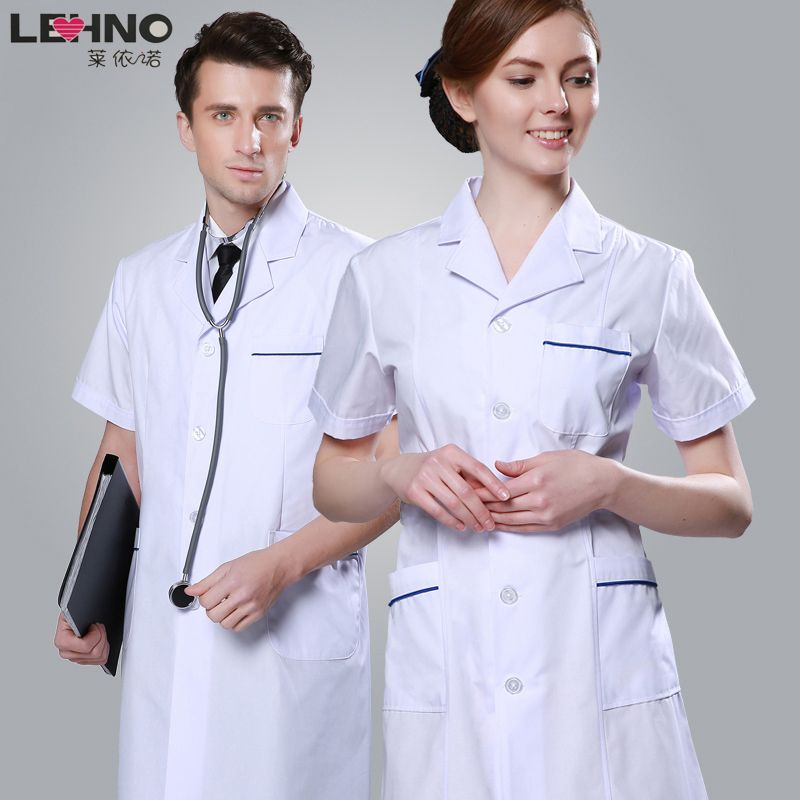 Brands LEHNO Male Doctor Clothing White Coat Summer Short-sleeve Men's Nurse Uniform Lab Work Wear