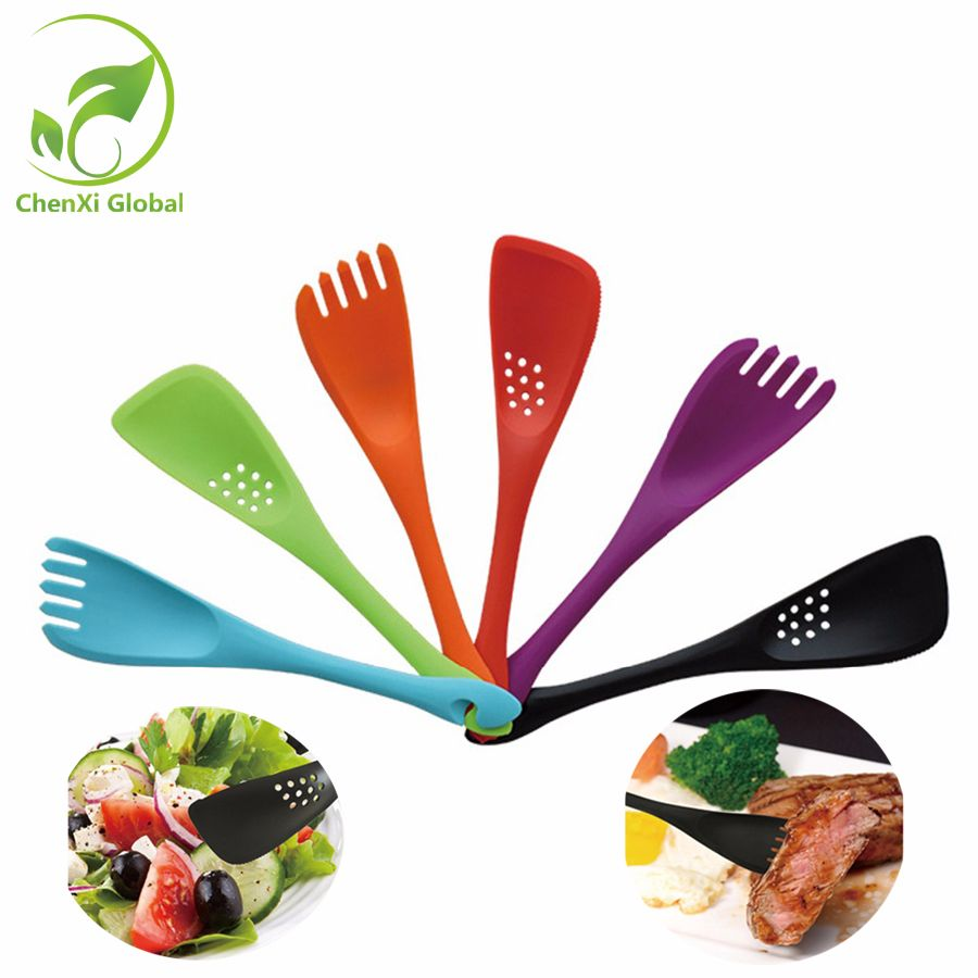 Multi-function Tool Non-stick Insulation Tuner+Fork Cookware Kitchen Supplies Colorful Silicone Cooking Utensils In-stock x1 set