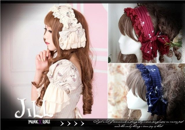 Ladies Victorian Lolita Princess Women Cos Cosplay Costume Retro Hair Accessories Bow  Lace Headband Maid Outfit