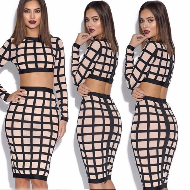 New 2016 Winter Women's Two Piece Outfits Knitted Sweater Set Plaid Long Sleeve Bodycon Pullover Top+Skirt Knit Clothing Suit