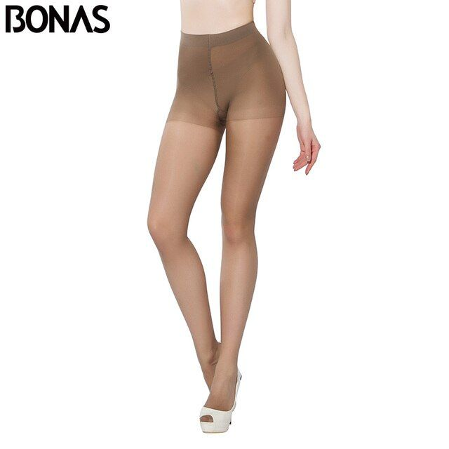 BONAS 15D Womens Tights Resistant Summer Hosiery Spandex Black Pantyhose Thin Design Sexy Solid Color Plus Size  For Women