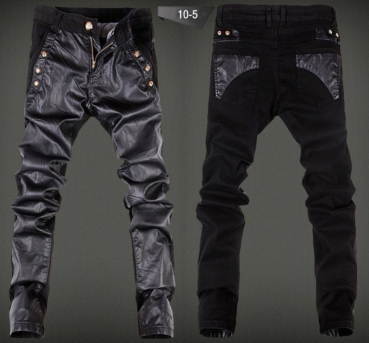 New Desiger Leather Patchwork Jeans Pants For Men,2015,Fashion Casual Slim Fit Male PU Trousers Size 28-36,