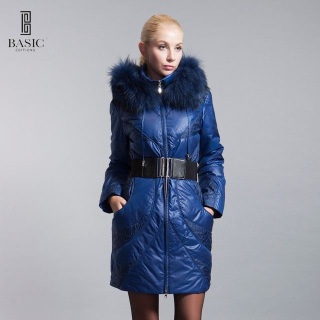 BASIC-EDITIONS Winter Extra Large Fur Collar Down Coat White Duck Feather Women's Down Jacket ZY12069 Free Shipping