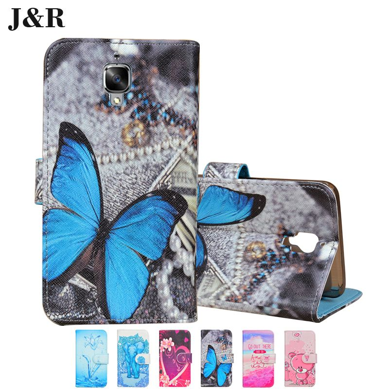 Popular Wallet Type PU Leather Case For Oneplus 3 One Plus 3 Cute Blue Butterfly Paint Flip cover Stand For Oneplus 3 case cover