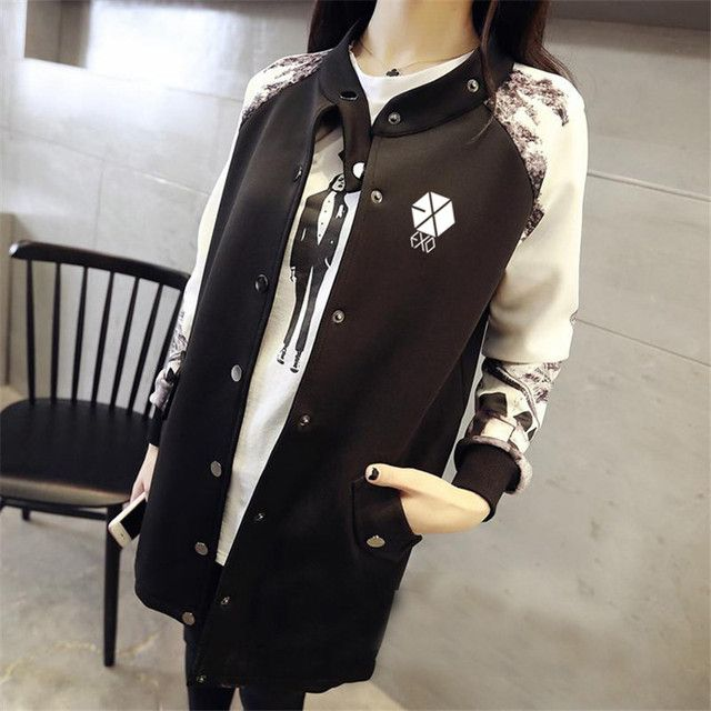 EXO KPOP Baseball Jacket Long-sleeved 2016 k-pop exo early autumn students should aid baseball uniform EXO Clothing