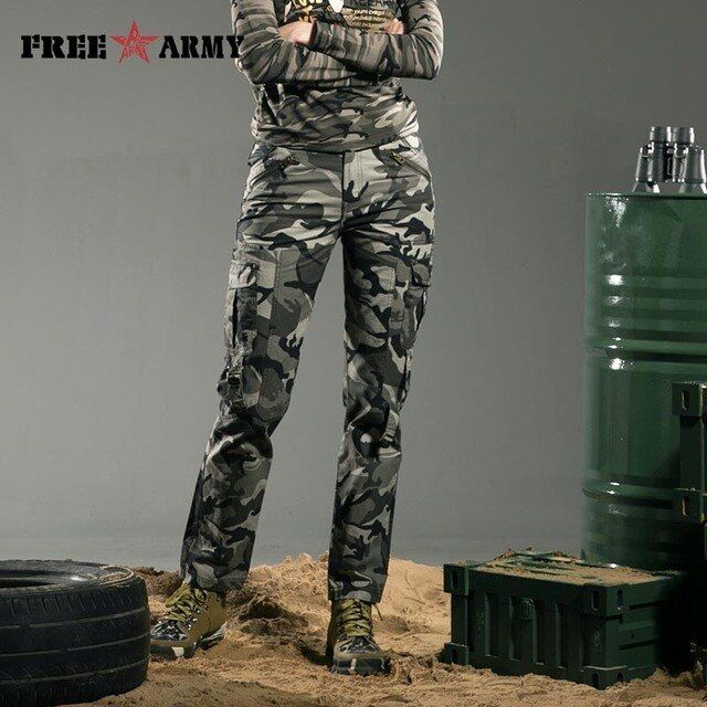 FreeArmy Brand Winter Women Pants Cotton Straight Slim Military Camo Pants Casual Camouflage Pants & Capris Outdoors Gk-9377B