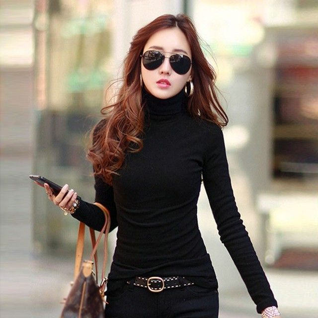 Multi-colors Spring Autumn Women Tops Long Sleeve Turtleneck  Women T-shirt Solid Stretch Tops Women Silm Bottoming Shirt