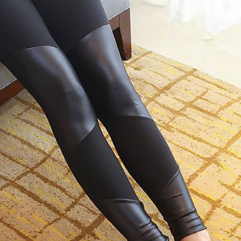 2018 Black Leggings Women  Ankle-Length Four leather stitching leggings Pants Elasticity   Female Legging