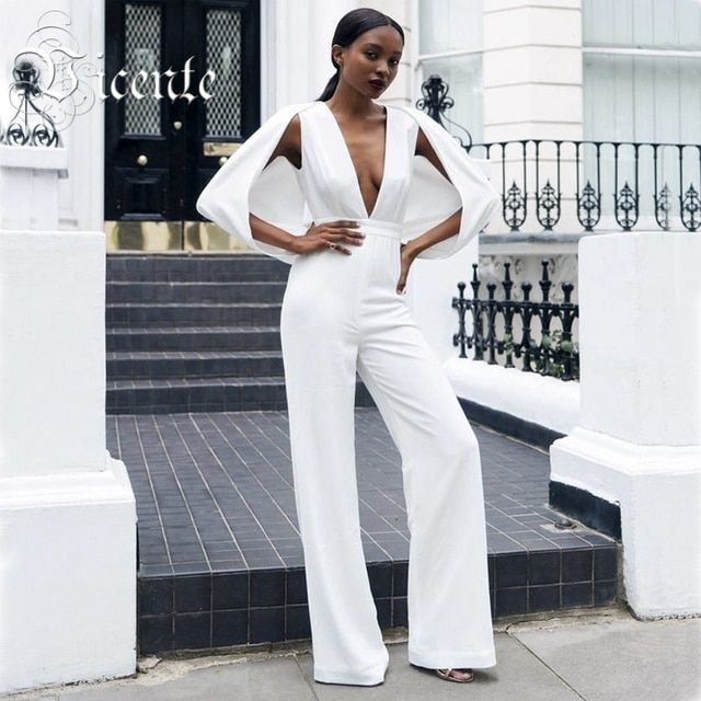 2017 New Free Shipping! Top Fashion Inspired Deep Vneck Cap Sleeves Bodycon Jumpsuit Women Rompers