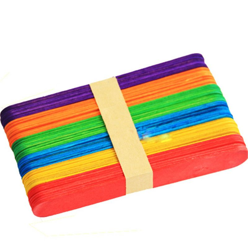 50Pcs/lot Wooden Popsicle Stick Kids Hand Crafts Art Ice Cream Lolly Cake DIY Making Funny Lollipop Popsicle Sticks 2016 HOT