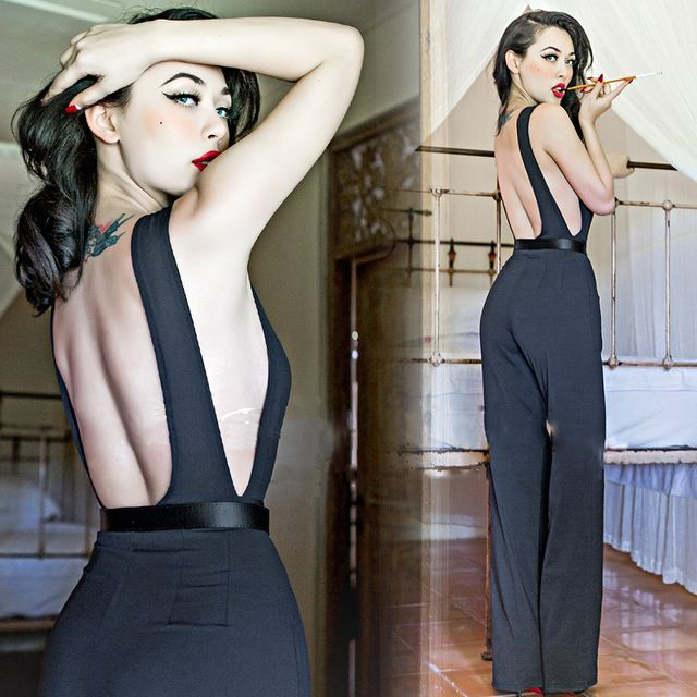 2016 European and American original single ladies selling piece pants jumpsuit drain back