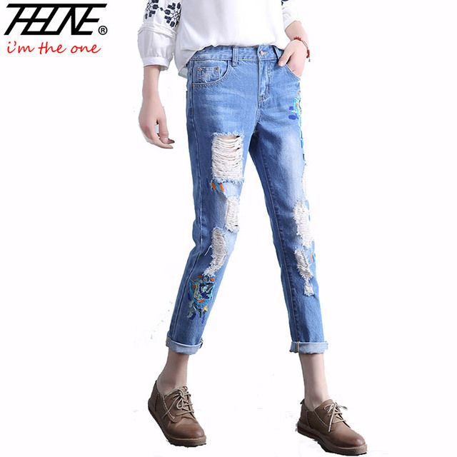 THHONE Fashion Jeans Women Ripped Denim Pants Holes Casual Trousers Cotton Summer Embroidered Pencil Pants Women Jeans Femme