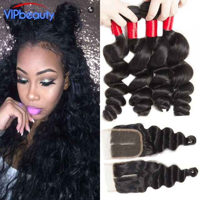 Mink Brazilian Virgin Hair Loose Wave With Closure Brazilian Loose Curly Hair Weave 4 Bundles With Closure Human Hair