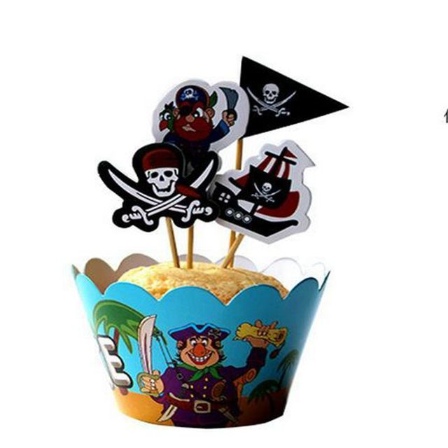 24 pcs pirate Outdoor sports football theme Party Paper Cupcake wrappers toppers  children boy birthday party decoration cakes