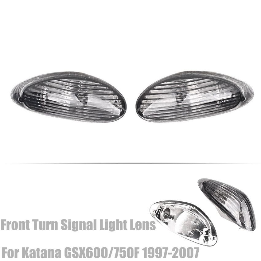 Front Turn Signals Light Indicator Blinker Lens Cover For Suzuki 1997-2007 Katana 600 750 GSX 600F 750F Smoke