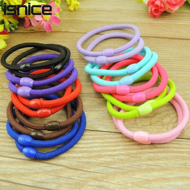isnice 50pcs Korean Fashion Women Hair Accessories Cute Candy color Elastic Hair Bands Girl Hairband Hair Rope Gum Rubber Band