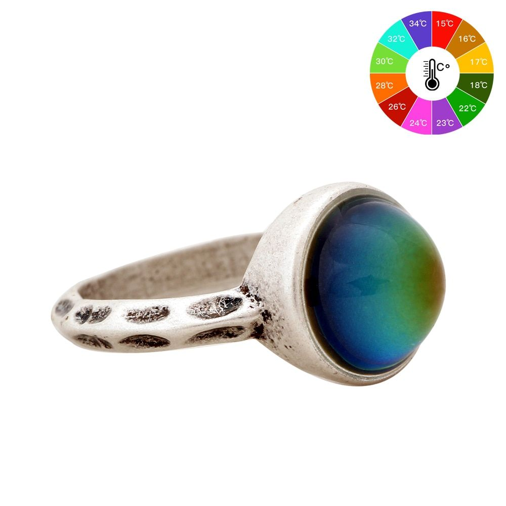 New Fashion Jewelry Unisex Ring European Style Personalized Fashion Vintage Round Gem Retro Color Change Ring for women MJ-RS002