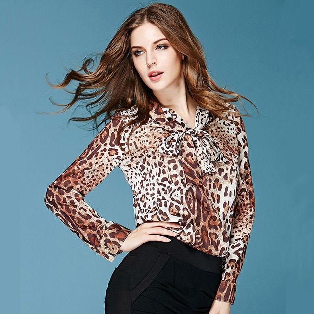 2015 Summer Spring New Fashion Daily Women's Elegant Long Sleeve Trun-down Collar Bow Sling Leopard Printed Chiffon Blouse