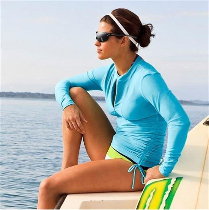 SBART Rash Guard Women Long Sleeve Rashguard Swim Shirts Woman Rash Guard Swimwear Surfing Clothes Upf50 Ladies Lycra Surf Top L