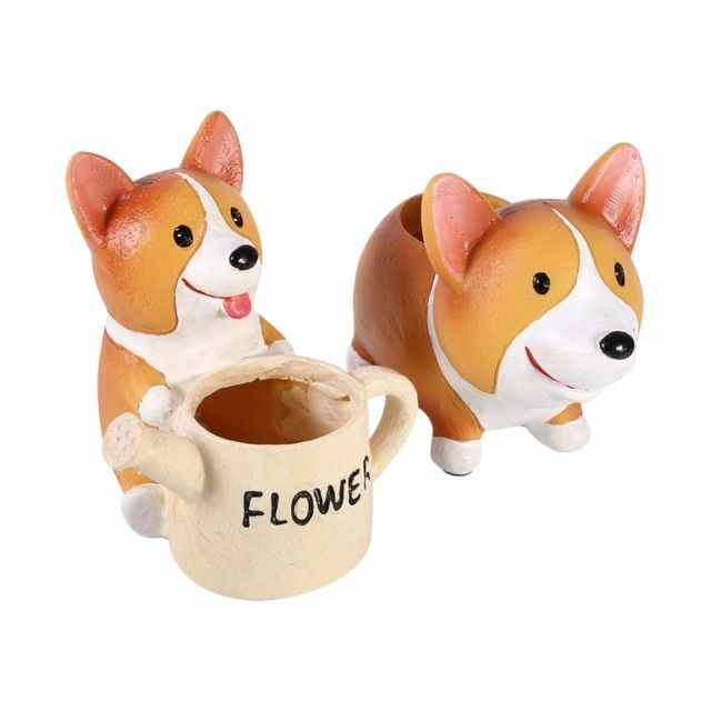 W Resin Flower Pot Cute Dog Corgi Animal Shaped Cartoon Succulent Flower Bonsai Pots Planter Home Office Pot Decoration