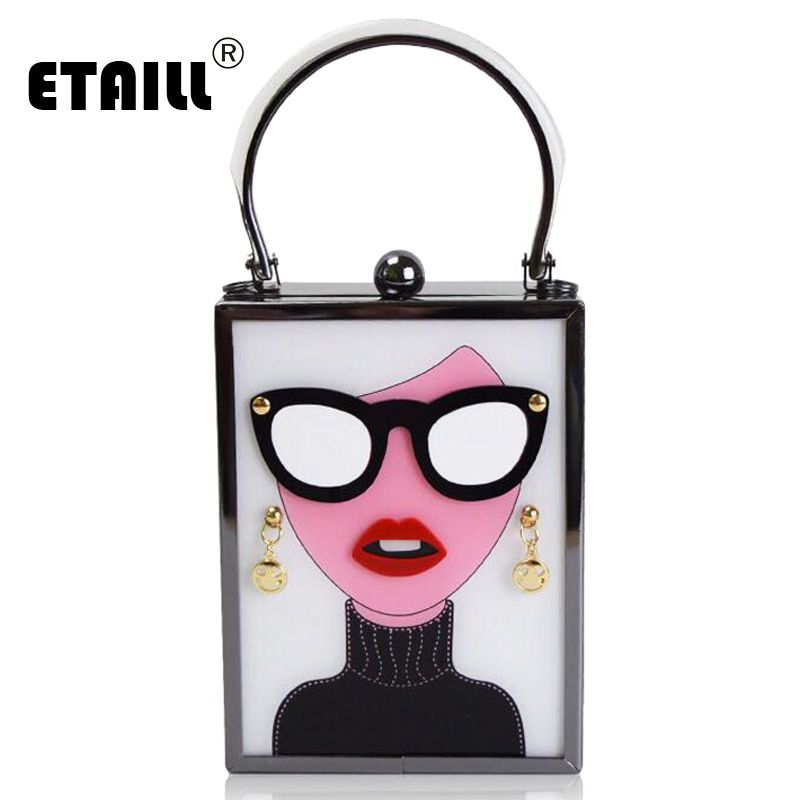 ETAILL Personalized Women Acrylic Clutch Bags Ladies Plastic Evening Bag Girls with Glasses Chain Small Bags Brand New Mini Bag