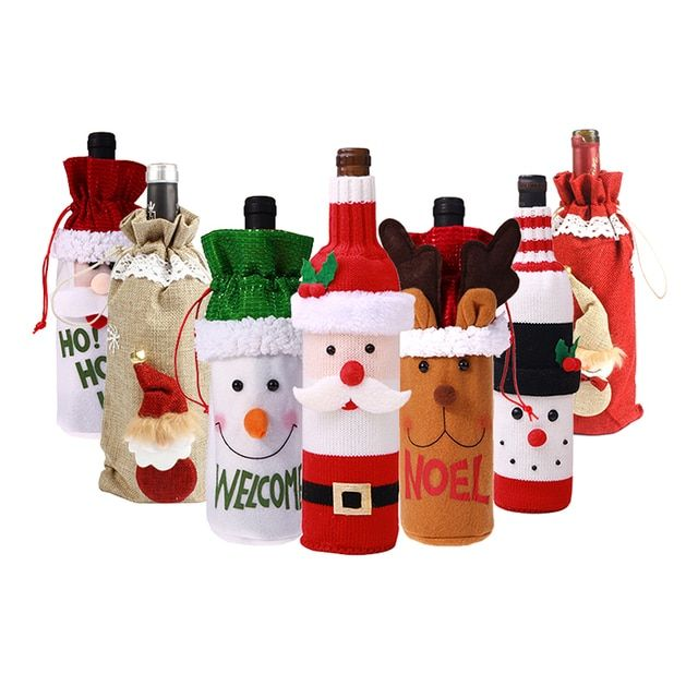 Noel Natal Wine Bottle Covers Christmas Decorations for HomeSanta Claus Wine Cover Bags Sack Banquet Dinner Decor