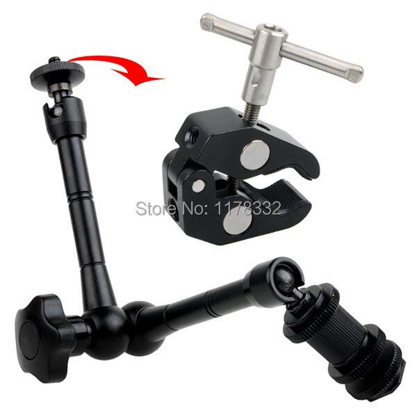 2PCS/1set 2in1 DSLR rig movie kit metal flexible 11 inch magic arm + super clamp suitable for camera camcorder lcd monitor led