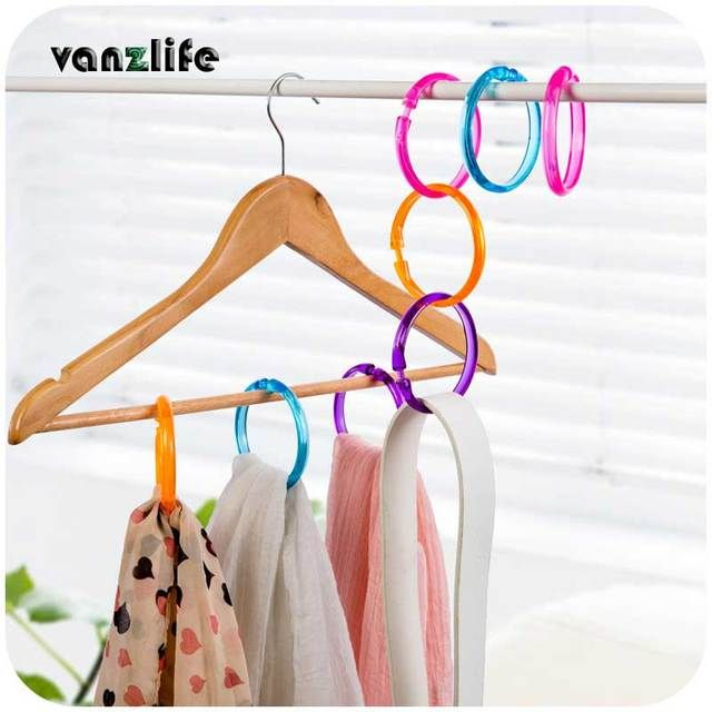 2pcs/vanzlife colorful dry wind engaging buckle ring scarf hanging racks multifunction companion one piece