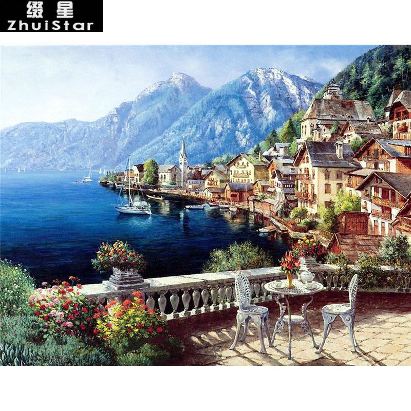 New 5D DIY Diamond Painting seaside mountain town Scenic Embroidery Full Square Diamond Cross Stitch Rhinestone Mosaic Painting