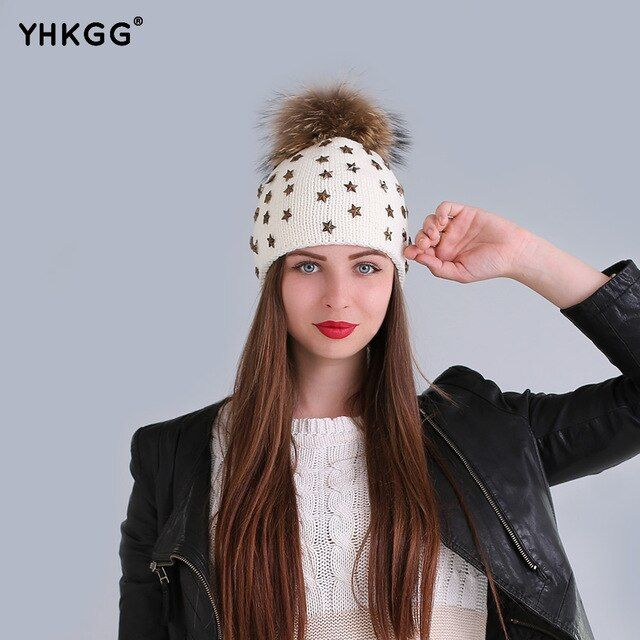 Women Stylish Winter wool knitting Hats bobble hat Raccoon Fur Ball 15cm pompon Top ladies Knitted Beanie