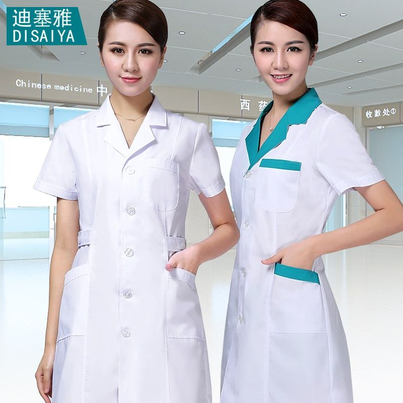 White Blue summer short-sleeve male doctor clothing nurse uniform work wear pharmacy experimental overalls uniform dentist