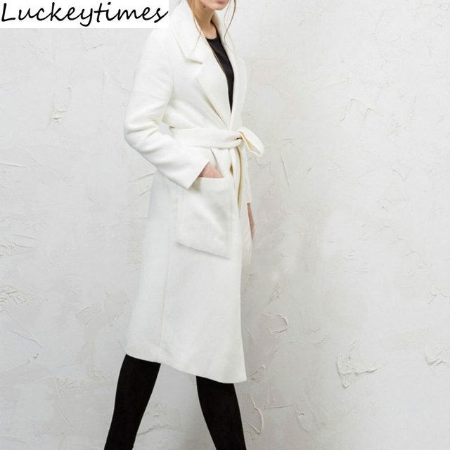 2016 Hot Sales Long White Two Pocket Wool Women Overcoat Fashion Slim Single Button Ladies Woolen Coat Plus Size S to XXL