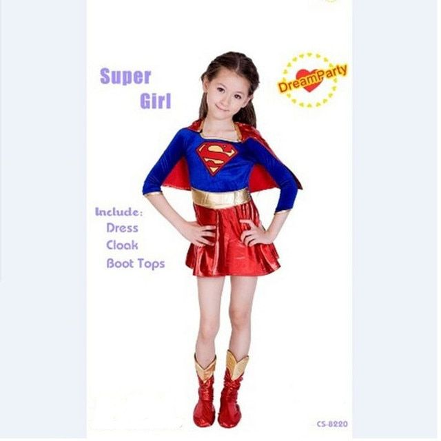 Kids Super Girls Supergirl Costume Cosplay Superman For Christmas New Year Purim Party Dress Costumes