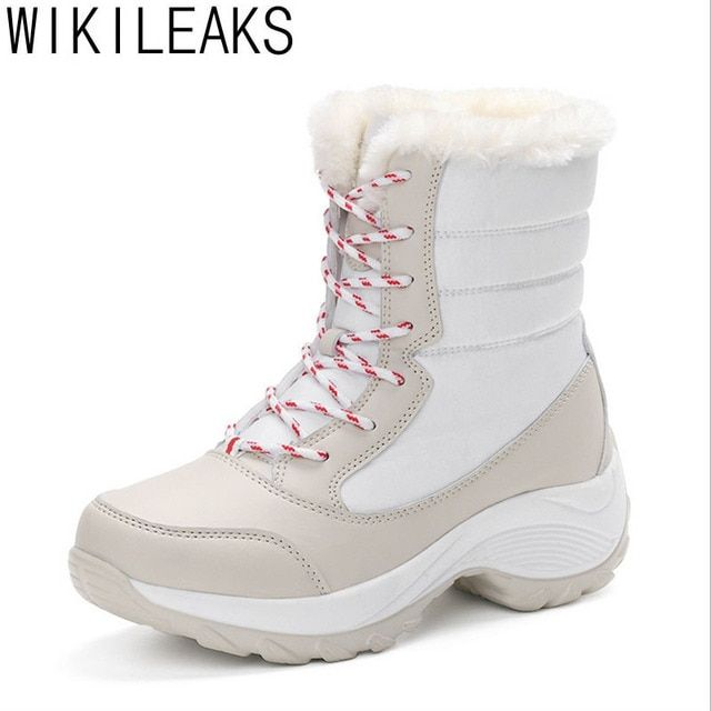Wikileaks Women Snow Boots Winter Warm Boots Thick Bottom Platform Waterproof Ankle Boots Women Thick Fur Cotton Shoes Plus Size