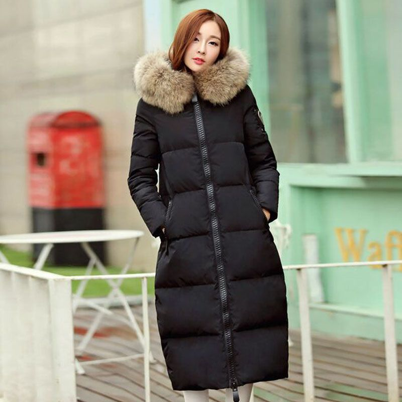 Parkas For Women Winter Jacket With Large Real Raccoon Fur 2017 Winter Jacket Women Extra Long Duck Down Thickening Female Parka