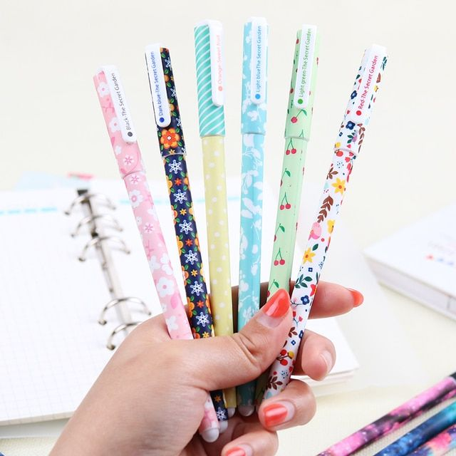Color Gel Pen Starry Pattern Cute Kitty and Polka Dot Pattern Stationery Students Office Supplies 6 Pcs/Set