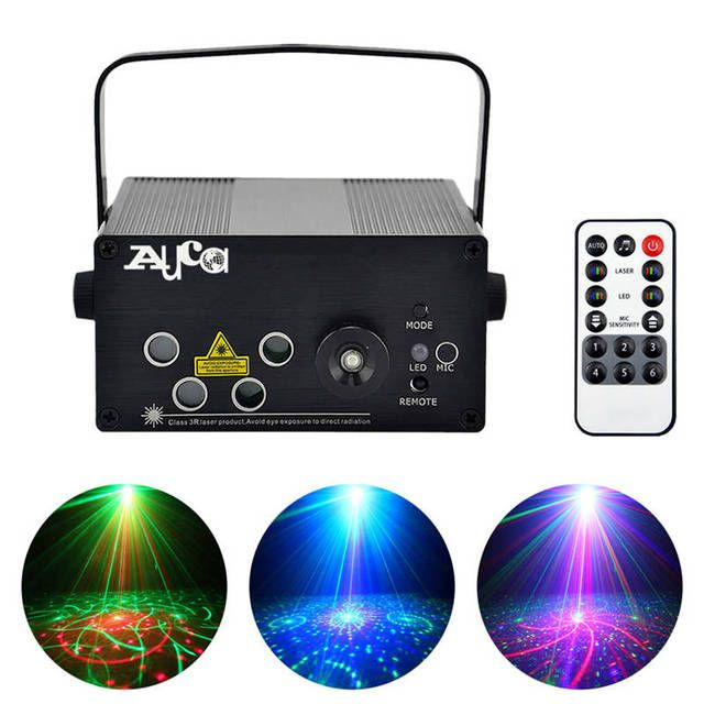 AUCD Mini Remote 5 Lens * 20 Patterns RGRB 4 Laser & BLUE LED Mix Effects Stage Lighting DJ Club Home Xmas Party Show Lights L80