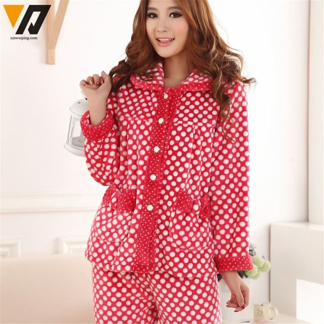 New Winter Female Thick Coral Velvet Pajamas Women Flannel Pajamas Sets Cute Dot Flannel Tracksuit Sleep Lounge Sleepwear Sets