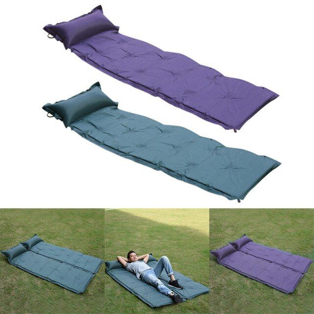 High quality Outdoor Moisture-Proof Tent Sleeping Pad Camping Waterproof Polyester Mat Automatic Inflatable mattresses