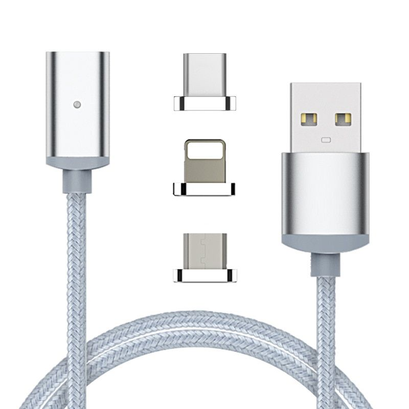 3 in 1 Magnetic Cable Micro USB Type C USB-C Data Charge Fast Charging Adapter for Samsung Note8 S8 Plus For iPhone X 6 7 8 Plus