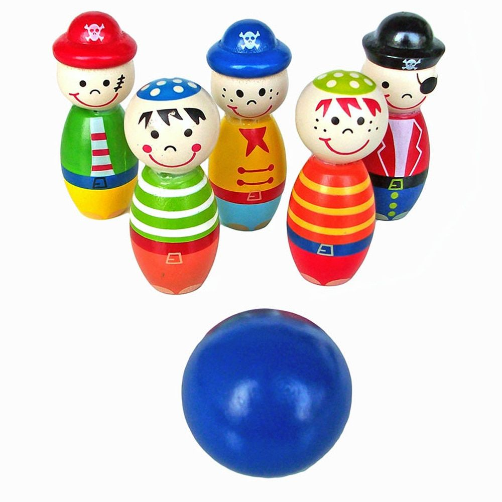 5pcs 2019 Hot Sale High Quality Children Toys Wooden Bowling Ball Skittle Funny Shape for Kids Game