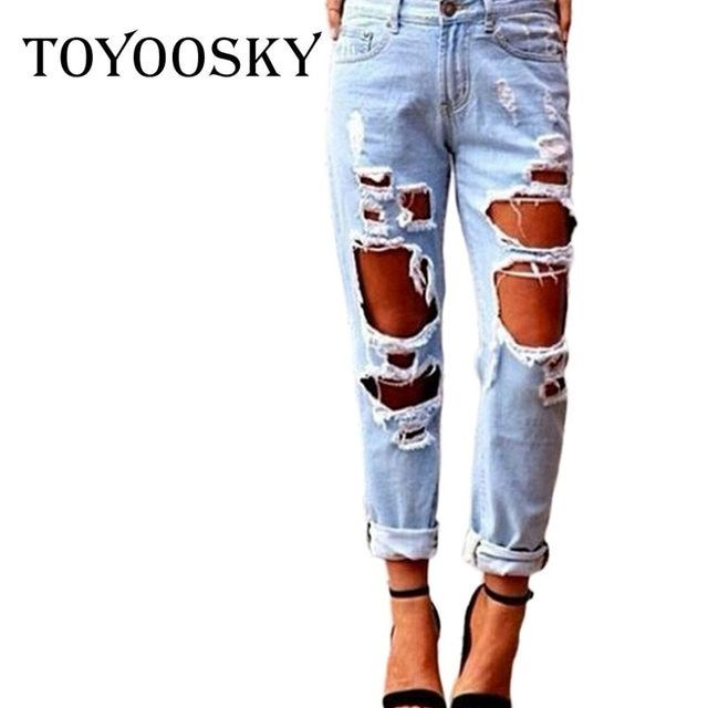 New Fashion Ripped Jeans Femme Casual Washed Holes Boyfriend Jeans for Women Regular Long Torn Jeans Wild Denim Pants XL